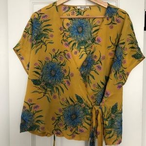 Madewell Yellow Flower Print Wrap Top Size XL